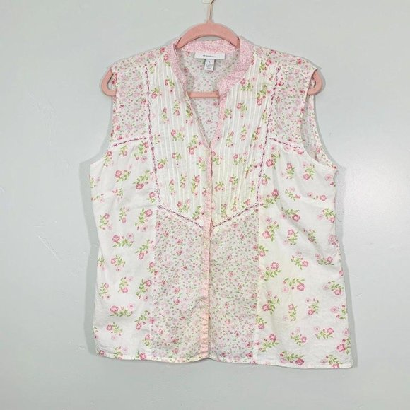 Vintage 90's White Pink Dainty Floral Button Front